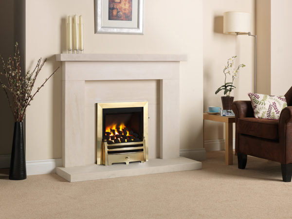 Paragon 2000 Low Lintel in brass shown with coal fuel bed in the