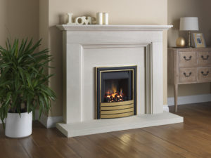 Paragon Slimline 3 with brass Elite trim and coal fuel bed.  Sho