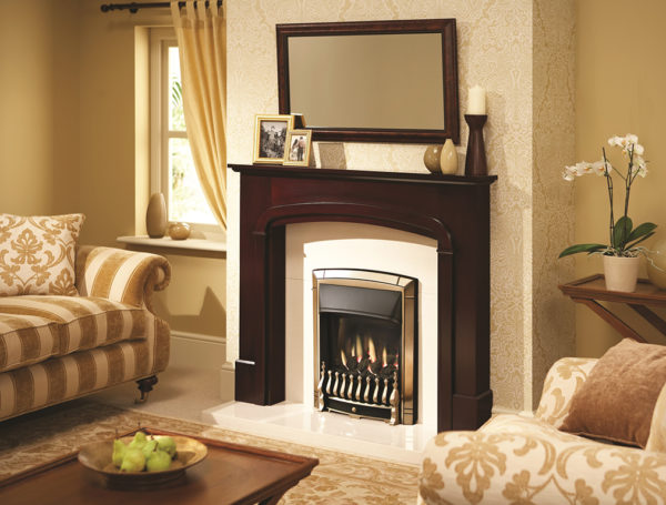 0576101 Dream Homeflame Gold Plated Roomset left angle ARTWORKED