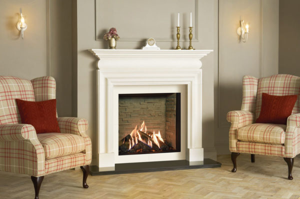Reflex-75T-Edge-with-Ledgestone-effect-lining-Cavendish-Bolection-limestone-mantel-matching-slip-set-LI
