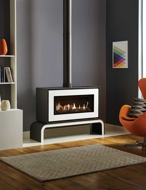 Studio-2-Gas-freestanding-with-White-front-and-matching-bench_log-effect-and-black-reeded-lining-lb-1