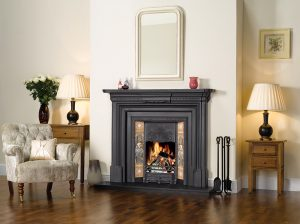 Stovax-Art-Nouveau-Tiled-fireplace-in-matt-black-with-cast-iron-back-and-georgian-cast-iron-mantel-lb