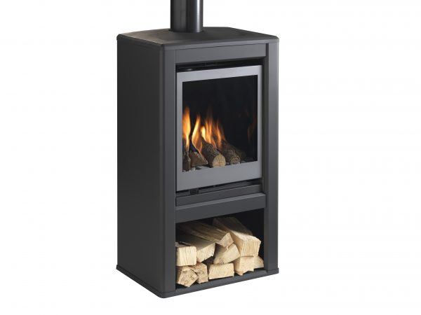 Valor Inspire Large Stove solus right angle with logs